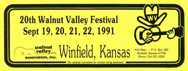 20th Walnut Valley Festival Bumper Sticker (1991)