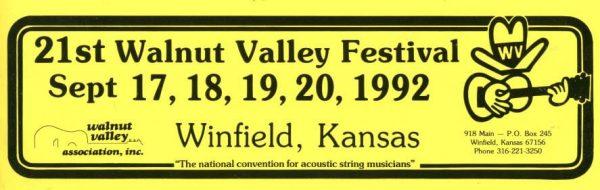 21st Walnut Valley Festival Bumper Sticker (1992)