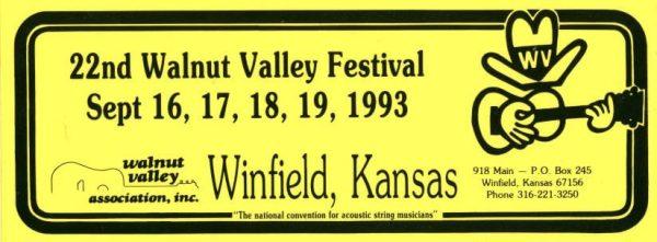 22nd Walnut Valley Festival Bumper Sticker (1993)