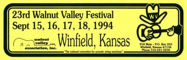 23rd Walnut Valley Festival Bumper Sticker (1994)