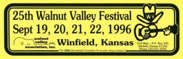 25th Walnut Valley Festival Bumper Sticker (1996)