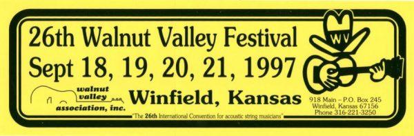 26th Walnut Valley Festival Bumper Sticker (1997)