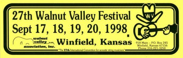 27th Walnut Valley Festival Bumper Sticker (1998)