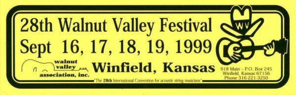 28th Walnut Valley Festival Bumper Sticker (1999)
