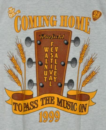 """""""Coming Home To Pass The Music On, 28th Walnut Valley Festival"""" T-Shirt Back"""