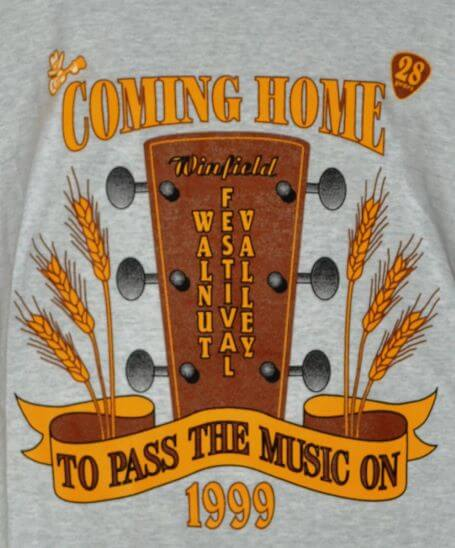 """""""Coming Home To Pass The Music On"""" Back of T-Shirt"""