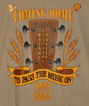 """Coming Home To Pass The Music On"" Tshirt Back"