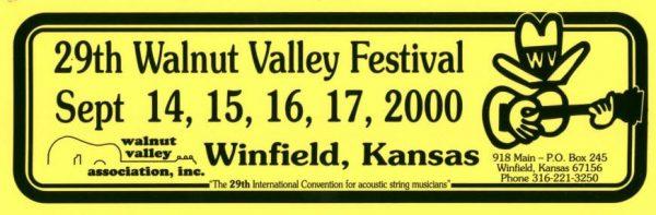 29th Walnut Valley Festival Bumper Sticker (2000)