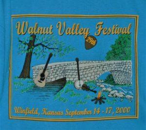 """""""29th Walnut Valley Festival, Winfield, Kansas, September 14-17, 2000"""" Tshirt Back"""