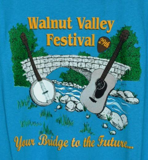 """""""29th Walnut Valley Festival, Your Bridge To The Future..."""" Tshirt Front"""