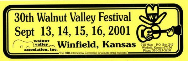 30th Walnut Valley Festival Bumper Sticker (2001)