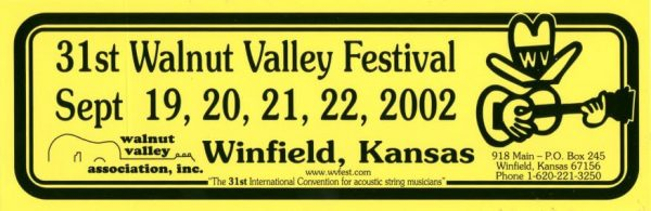 31st Walnut Valley Festival Bumper Sticker (2002)