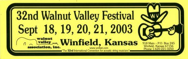 32nd Walnut Valley Festival Bumper Sticker (2003)
