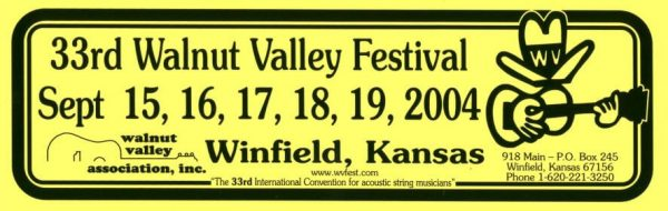 33rd Walnut Valley Festival Bumper Sticker (2004)