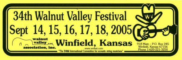 34th Walnut Valley Festival Bumper Sticker (2005)