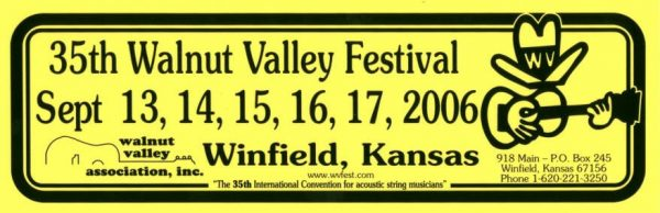35th Walnut Valley Festival Bumper Sticker (2006)