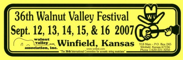 36th Walnut Valley Festival Bumper Sticker (2007)
