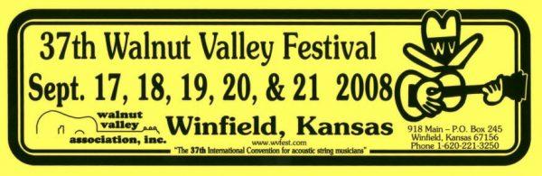 37th Walnut Valley Festival Bumper Sticker (2008)