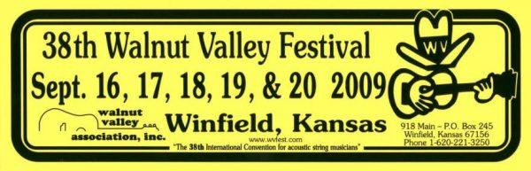 38th Walnut Valley Festival Bumper Sticker (2009)