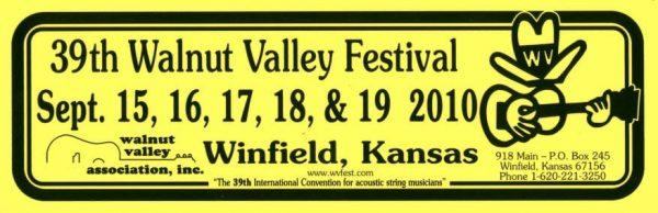39th Walnut Valley Festival Bumper Sticker (2010)
