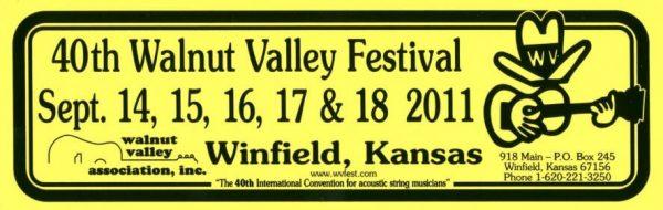 40th Walnut Valey Festival Bumper Sticker (2011)