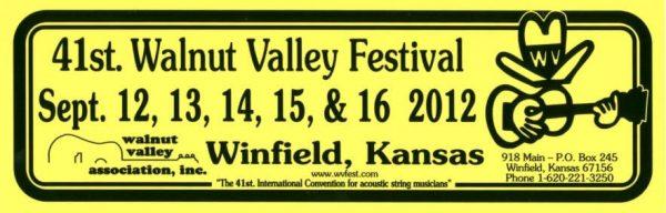 41st Walnut Valley Festival Bumper Sticker (2012)