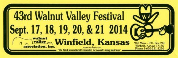 43rd Walnut Valley Festival Bumper Sticker (2014)