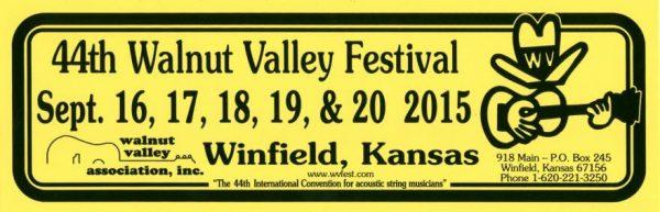 44th Walnut Valley Festival Bumper Sticker (2015)