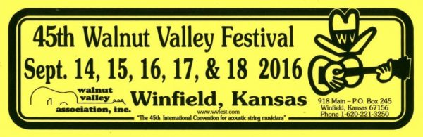 45th Walnut Valley Festival Bumper Sticker (2016)