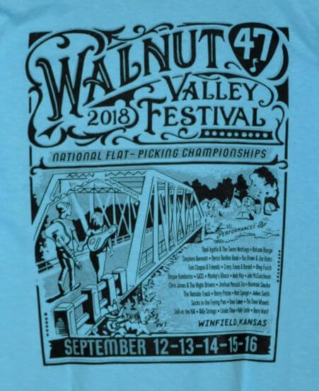 Monochrome Print of Official 2018 Walnut Valley Festival Worker T-Shirt