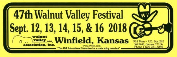 47th Walnut Valley Festival Bumper Sticker (2018)