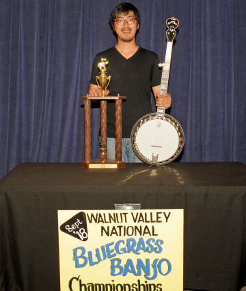 2nd Place Banjo Winner, Takumi Kodera, with Trophy and Prize Banjo