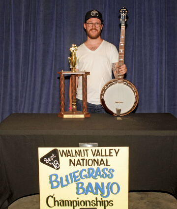 3rd Place Banjo Winner, Trevor Smith, with Trophy & Prize Banjo