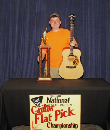 1st Place Flat Pick Guitar Winner with Trophy and Prize Guitar (2018)
