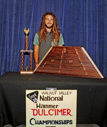 1st Place Hammer Dulcimer Winner, Colin Beasley, with Trophy and Prize Hammer Dulcimer