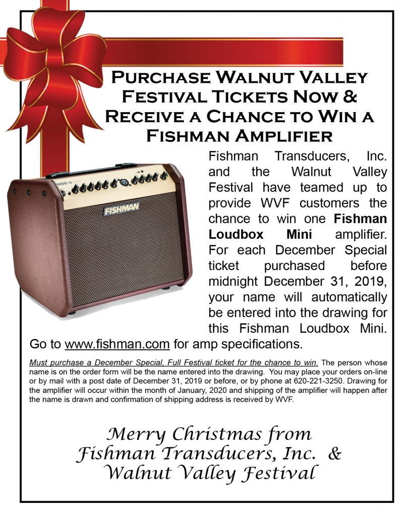 Purchase Walnut Valley Festival Tickets Now & Receive A Change To Win A Fishman Amplifier