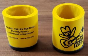 "Yellow Rubber Foam Koozie with Walnut Valley's ""Fesity"" logo printed in black"