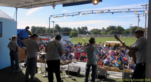 Andy May's Acoustic Kids performing on stage at the Walnut Valley Festival