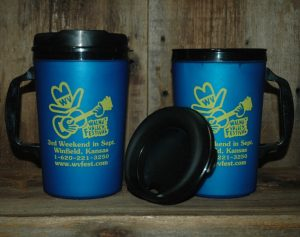 "Blue Coffee Mug, front shows Feisty and reads ""Walnut Valley Festival, 3rd Weekend in Sept., Winfield, Kansas, 1-620-221-3250, www.wvfest.com"""