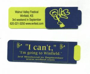 Magnetic Bookmark with Walnut Valley Festival logo (closed)