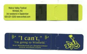 Magnetic Bookmark with Walnut Valley Festival logo (Open)