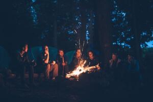 Campfire after dark