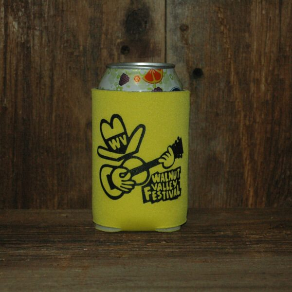 Soft, Yellow Can Koozie with Feisty on the front