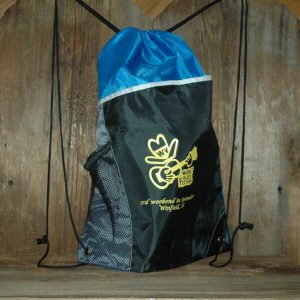 """Blue & Black Cinch Bag - front show picture of Feisty and reads, """"Walnut Valley Festival, 3rd Weekend in September, Winfield, KS"""""""