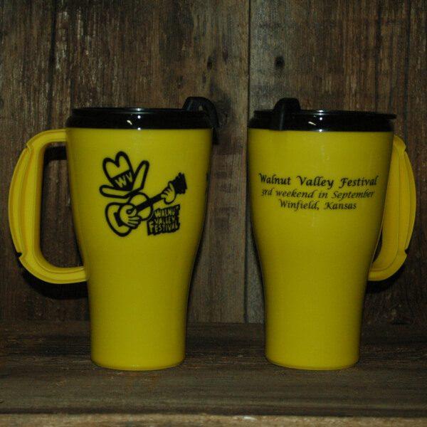"Yellow WVF Coffee Mug--front shows Fesity, back reads ""Walntu Valley Festival, 3rd weekend in September, Winfield, Kansas"""