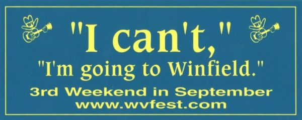 """""""I can't, I'm going to Winfield"""" bumper sticker"""