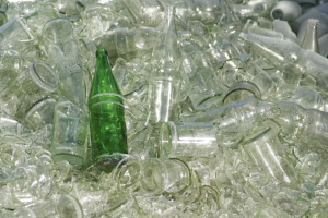 Glass can be recycled as part of the campground recycling program.