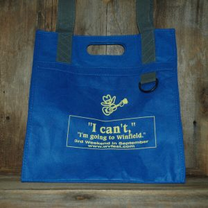 "Blue tote bag - front reads ""I can't, I'm going to Winfield. 3rd Weekend in September, www.wvfest.com"""